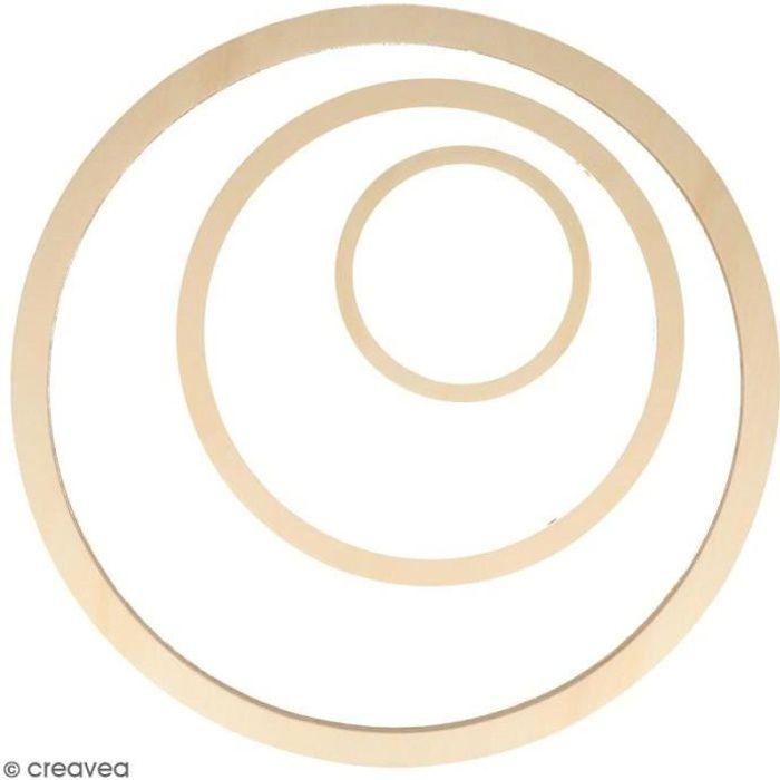 Forme en bois à décorer - Cercles - 40, 26, 13 cm - 3 pcs