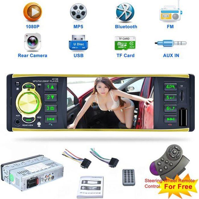 Autoradio Lecteur Multimédia 1 Din HD 4,1 Pouces MP5 de Voiture 4019B Bluetooth Supporte FM/ AUX USB/ TF Or
