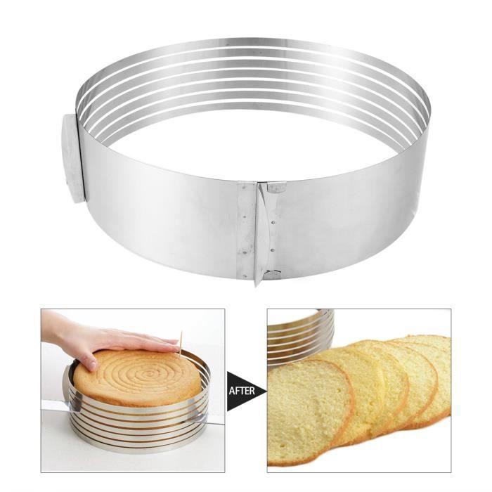 Moule Rond Inox Gâteau Pâtisserie Cercle Mousse Cake Tranche Couche Cuisine Réglable 24-30CM