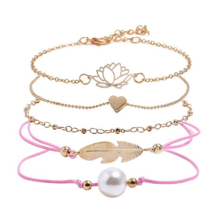 5 pièces Bracelets Aimant Coeur Feuille Perle Élégant Alliage Creux Lotus Poignet Chaîne Bracelet BRACELET - GOURMETTE - JONC