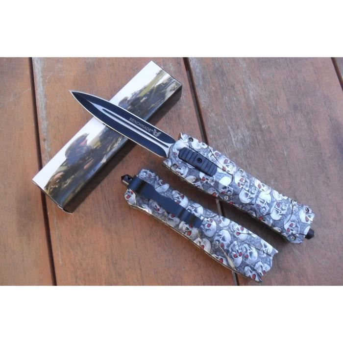 Couteau Éjectable À Fermeture Et Ouverture Automatique 23 Cm Tete de Mort Outdoor