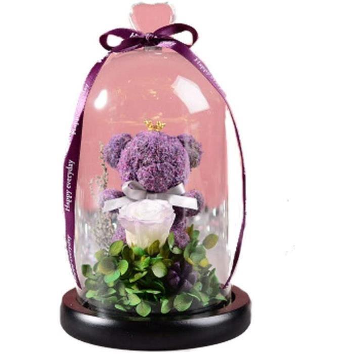 Fleur éternelle Amour Ours Fleurs Halloween Saint Valentin Cadeau de Noël en Verre Couverture Rose de Fleurs séchées,Violet