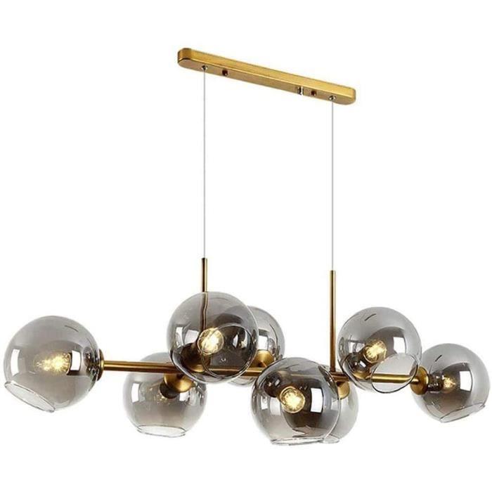 Verre nordique Boule Spoutnik moderne Lustre, 8 Lumières E27 Suspension métal industriel 110cm Lampe suspendue, lampes de plafond279
