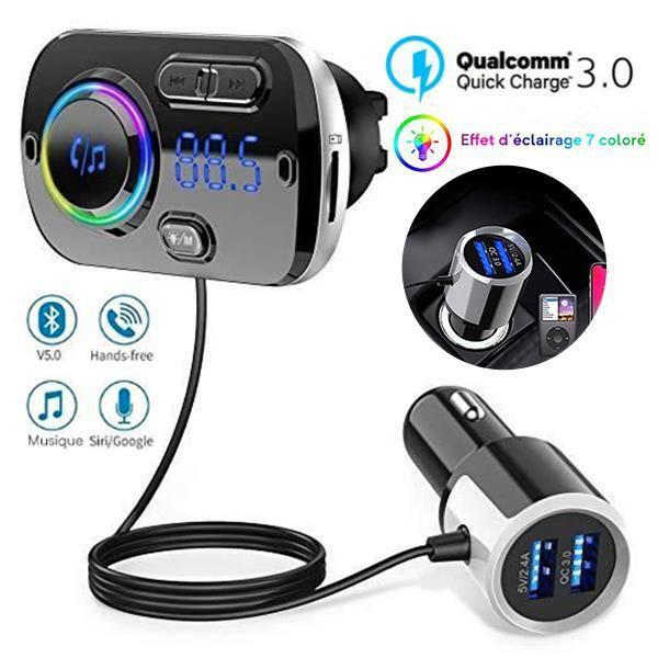 Transmetteur FM Voiture Bluetooth 5.0 avec QC3.0 Adaptateur Appel Main Libre, 7 Lumières Colorées support Siri 【Nouveau 2019】