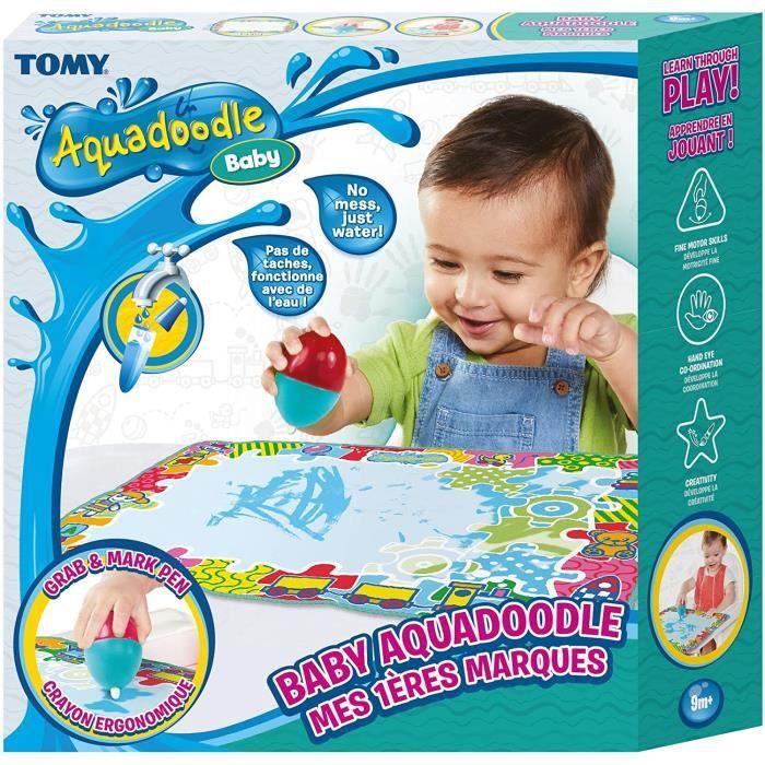 Aquadoodle Mes 1ères marques, Tapis de Dessin à l'eau pour Bébé, Jeu officiel de TOMY de Coloriage et de Dessin, Non salissant, Tap