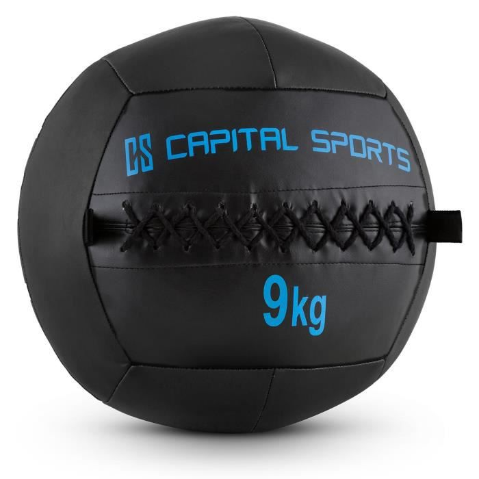 CAPITAL SPORTS Wallba - Medecine ball cuir synthétique pour exercices core & entrainement fitness, cross-training, muscu, MMA- 9kg
