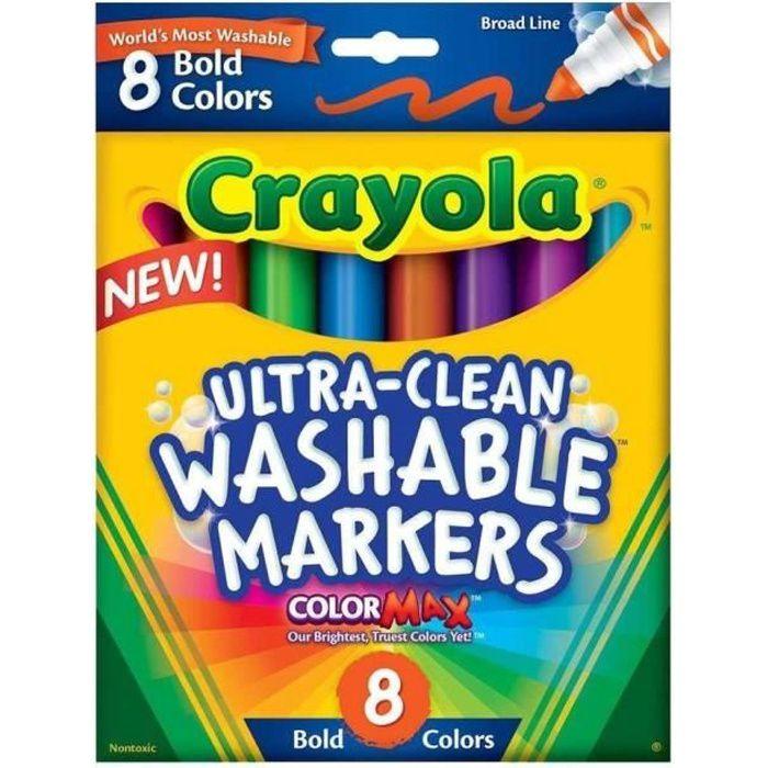 Crayola - 8 Feutres à colorier ultra lavables - se nettoie sans frotter