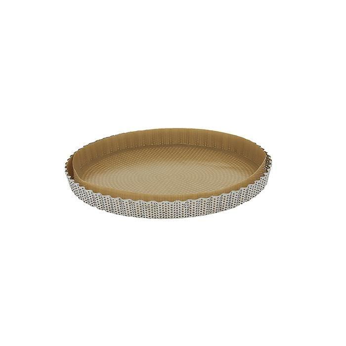 Moule tarte cannelé inox perforé 28 cm