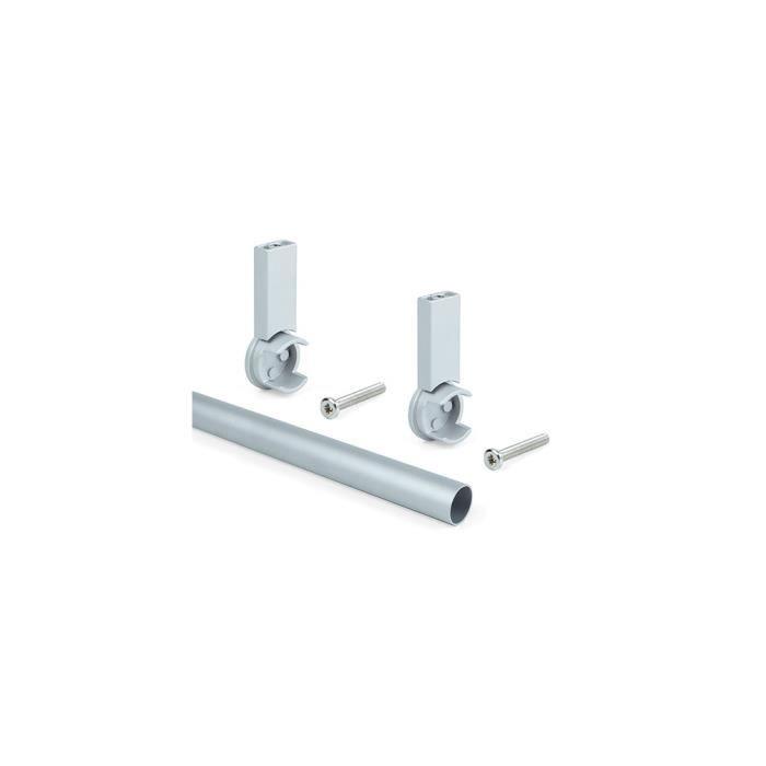 Kit de 2 barres penderie en aluminium D. 28 x 950 mm et supports Keeper pour armoire finition couleur gris - 7062162 - Emuca