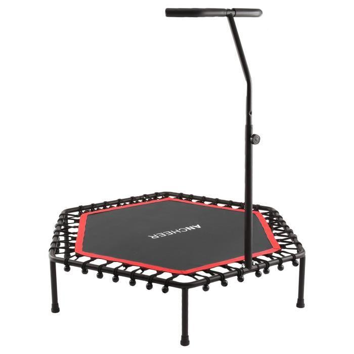 Trampoline fitness - Trampoline intérieur et de jardin - Poignée réglable - Poids Utilisateur Max 220 lb - Rouge