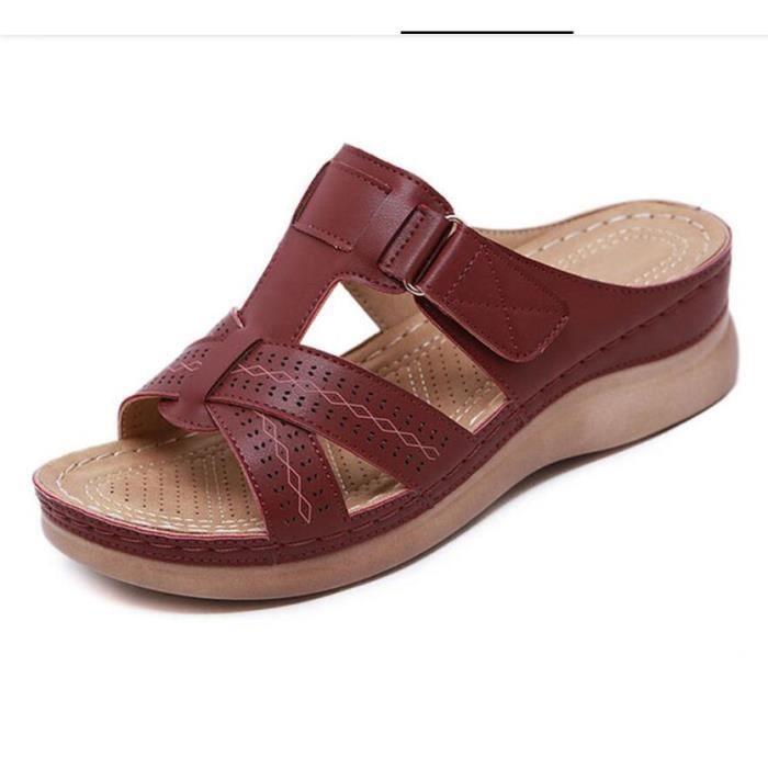 Sandales orthopédiques à bout ouvert pour femmes Rouge2