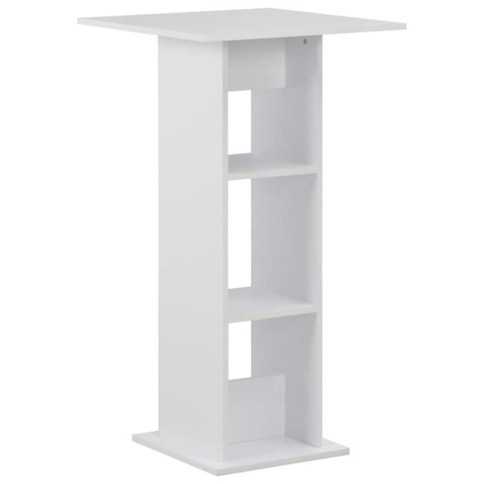 Table de bar style contemporain Mange-Debout Blanc - 60x60x110 cm