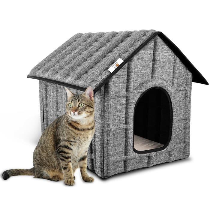 PUPPY KITTY Maison pour Chats avec tapis , Niche amovible et lavable pour Chats, Pliable et facile à assembler, 52 x 42.5 x 42 cm