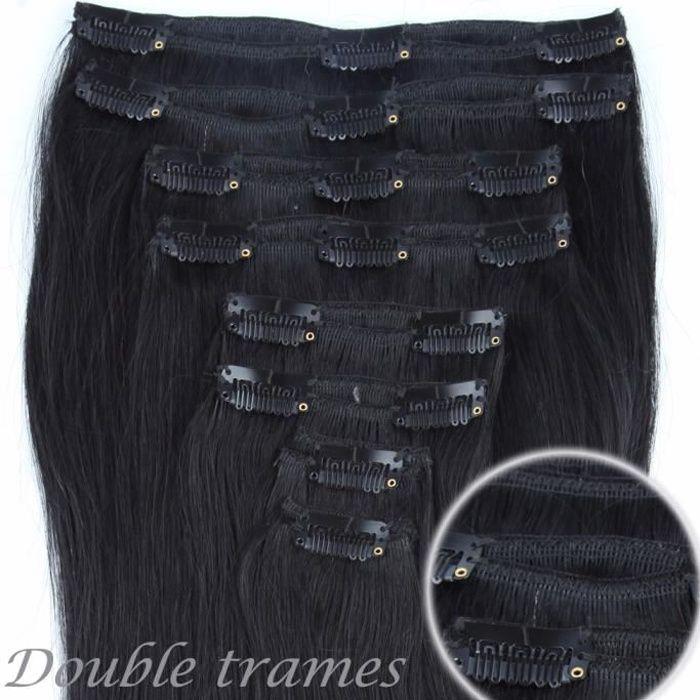 Extensions à Clips en Cheveux Naturels - REMY HAIR - 8Pcs-18Clips(50cm-150g) - #01 Noir