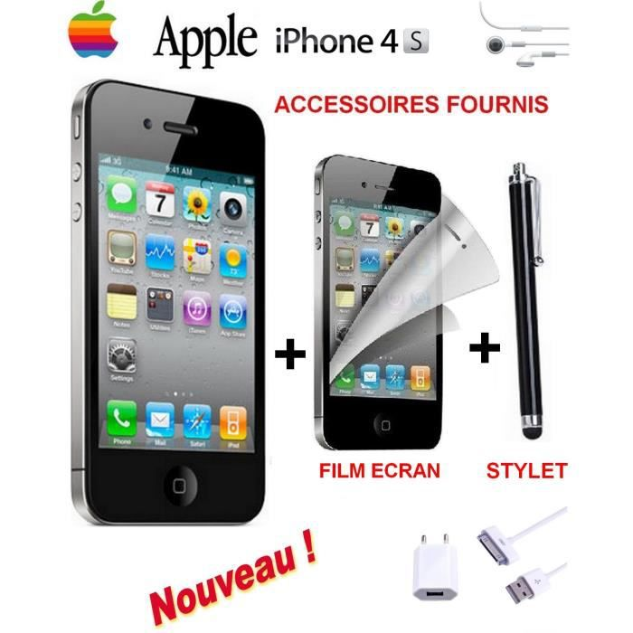 exclu apple iphone 4s noir 16go film stylet achat. Black Bedroom Furniture Sets. Home Design Ideas