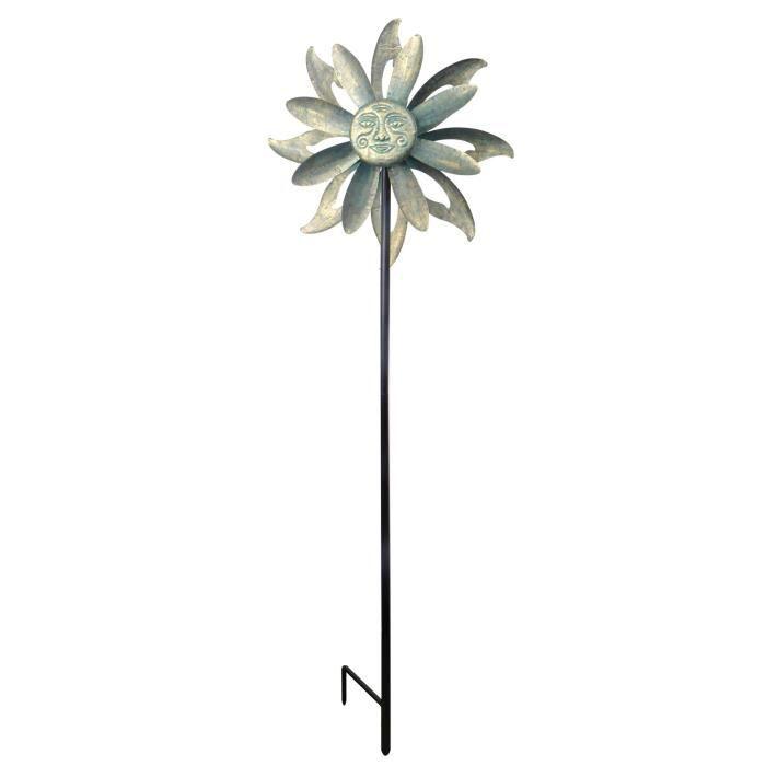 Eolienne décoration jardin moulin à vent girouette en métal ...