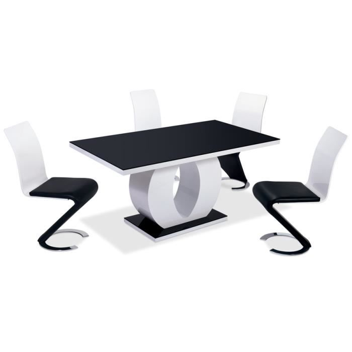 table de salle manger retangulaire laqu e noire achat vente table manger seule table de. Black Bedroom Furniture Sets. Home Design Ideas