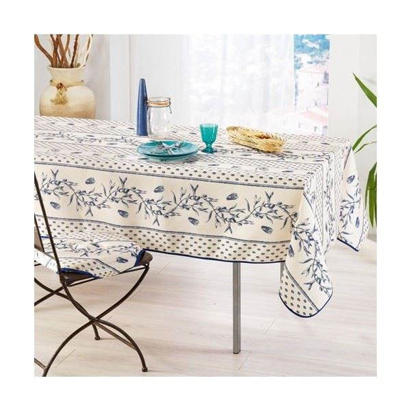 nappe olive cigale cru bleu achat vente nappe de table cdiscount. Black Bedroom Furniture Sets. Home Design Ideas