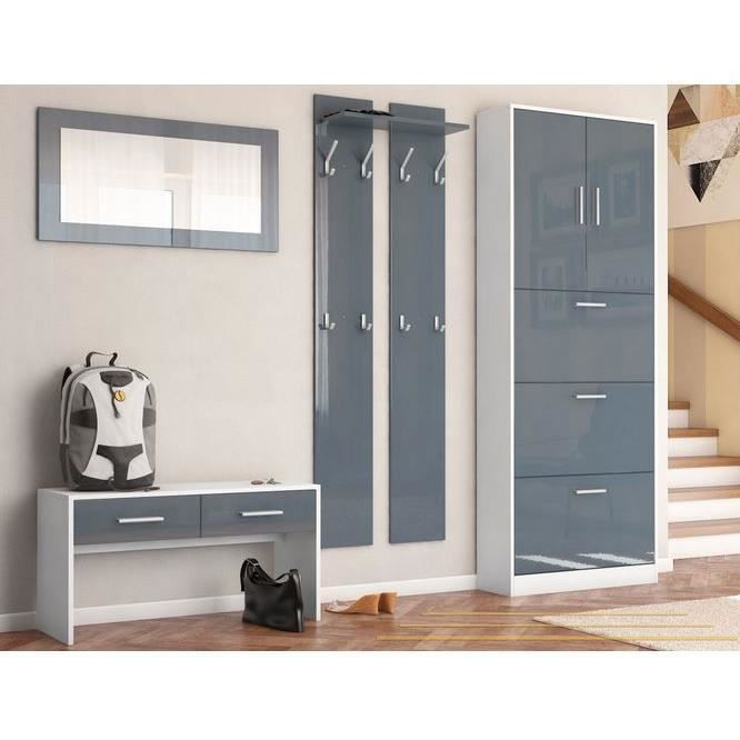 ensemble de meubles d entr e blanc gris achat vente meuble d 39 entr e ensemble de meubles d. Black Bedroom Furniture Sets. Home Design Ideas