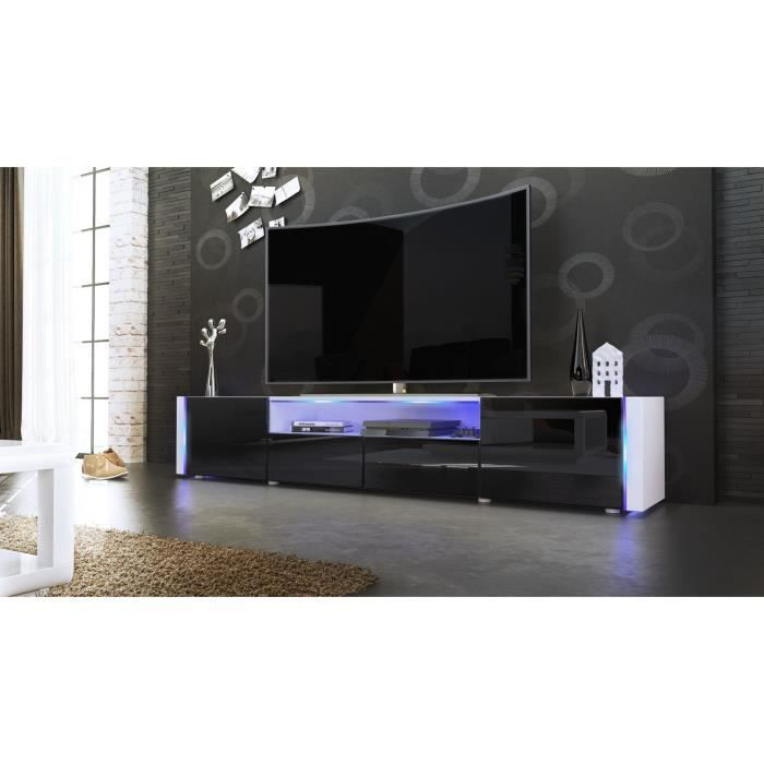 meuble tv blanc et noir sans led achat vente meuble tv. Black Bedroom Furniture Sets. Home Design Ideas