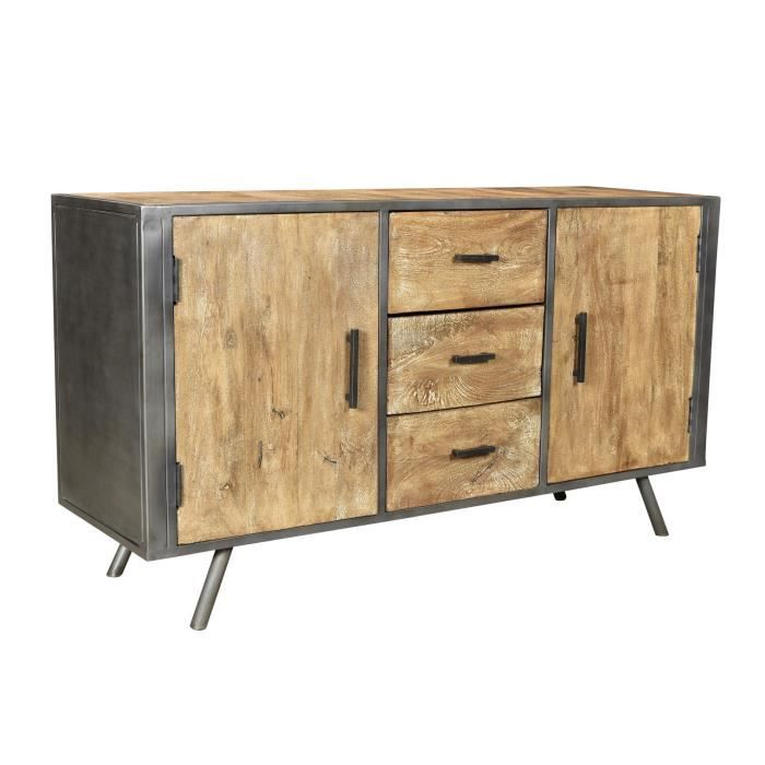 buffet industriel bois et metal achat vente buffet bahut buffet industriel bois et cdiscount. Black Bedroom Furniture Sets. Home Design Ideas
