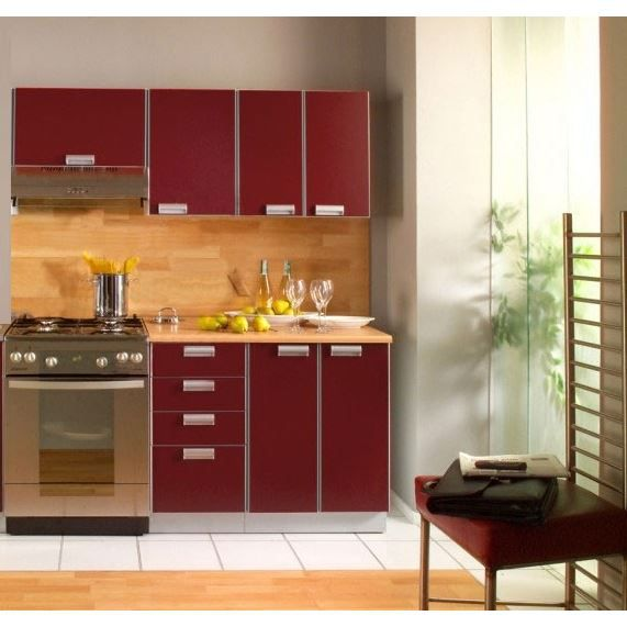 cuisine compl te opale bordeaux 1m60 5 meub achat vente cuisine compl te cuisine. Black Bedroom Furniture Sets. Home Design Ideas