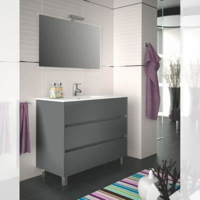 meuble salle de bain 100 cm couleur gris achat vente. Black Bedroom Furniture Sets. Home Design Ideas