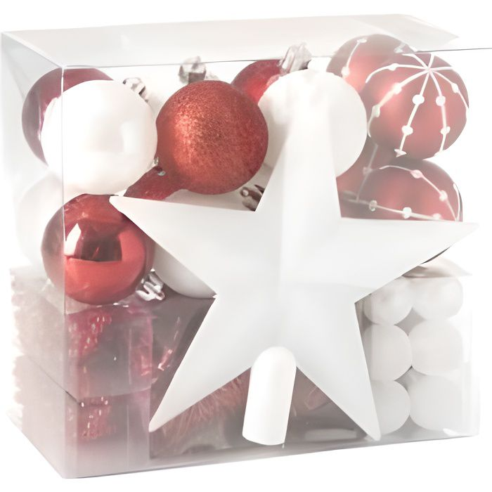 Kit d coration pour sapin de no l blanc rouge achat for Achat decoration de noel