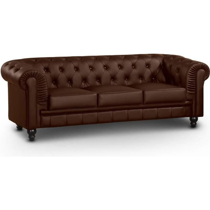 Canap 3 places chesterfield marron achat vente canap for Canape chesterfield 2 places