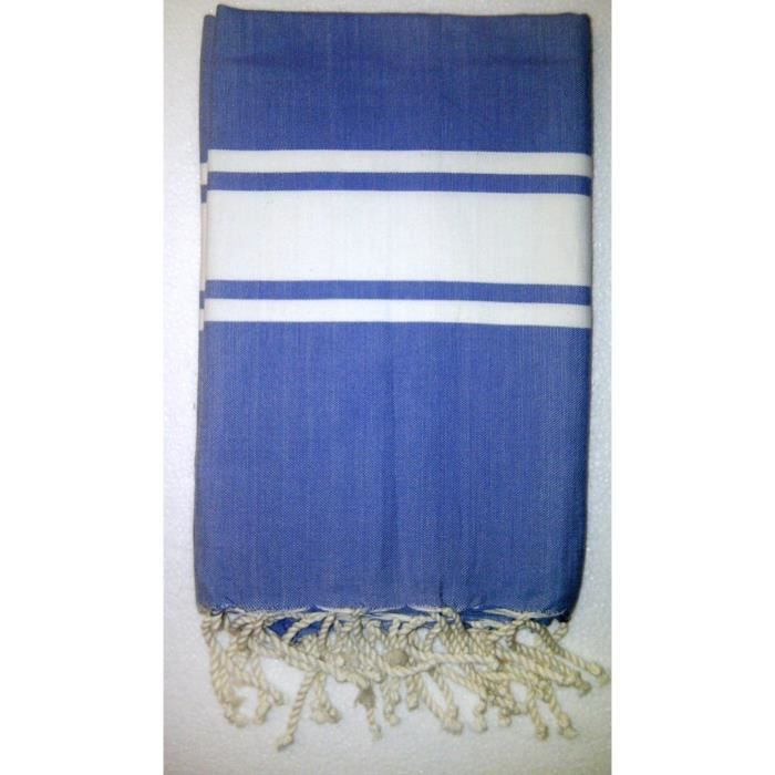fouta serviette de plage en coton 1 x 2m bleu achat vente serviette de plage cdiscount. Black Bedroom Furniture Sets. Home Design Ideas