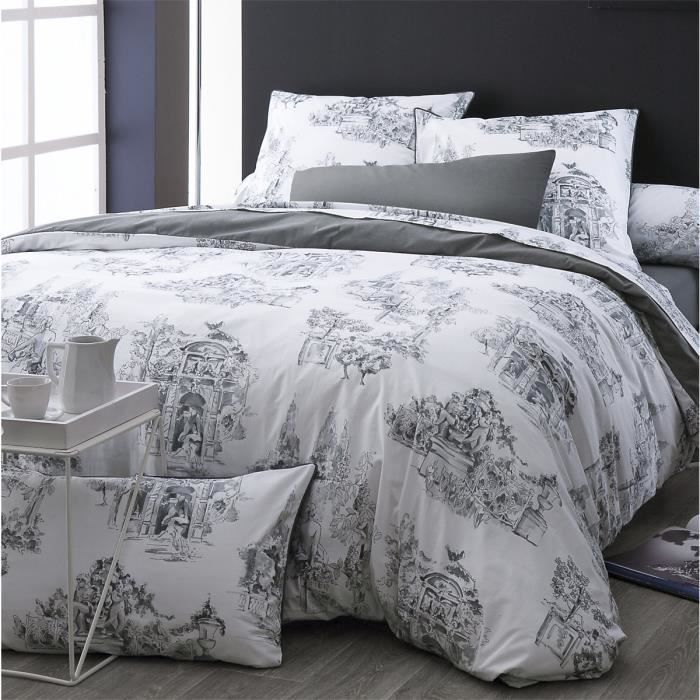 housse de couette toile de jouy gris monceau 140 x 200 cm anthracite blanc achat vente. Black Bedroom Furniture Sets. Home Design Ideas