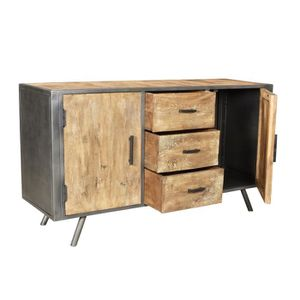 buffet industrielle metal et bois achat vente buffet. Black Bedroom Furniture Sets. Home Design Ideas