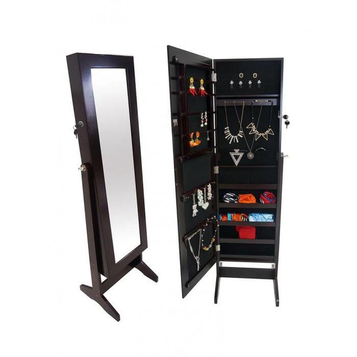 Miroir de Rangement, Armoire à Bijoux avec Miroir, 120 x 38 x 9 cm, Marron, Support au sol ...