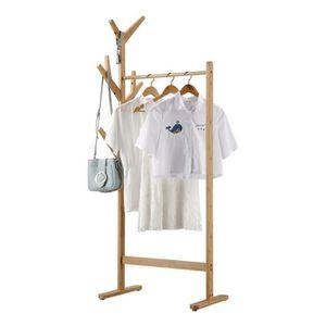 PORTE-MANTEAU Portant Penderie à Vêtements en Bambou avec Porte-