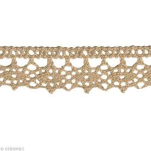 TISSU Dentelle coton fantaisie 1,3 cm - Taupe au mètre (