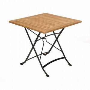 Table carrée pliante Teck fer forgé MEDICIS - Achat / Vente table de ...