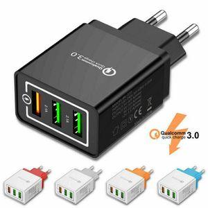 CHARGEUR TÉLÉPHONE Chargeur rapide triple port USB noir