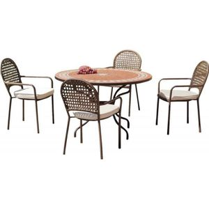 Salon de jardin table ronde et fauteuils 4 places • Mobilier ...