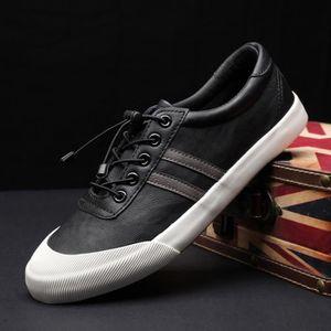 BASKET Chaussures baskets Cuir Homme Noir-Blanc Respirant