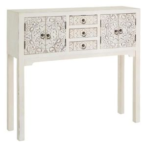 CONSOLE Console 4 portes, 3 tiroirs Blanche Meuble Chinois