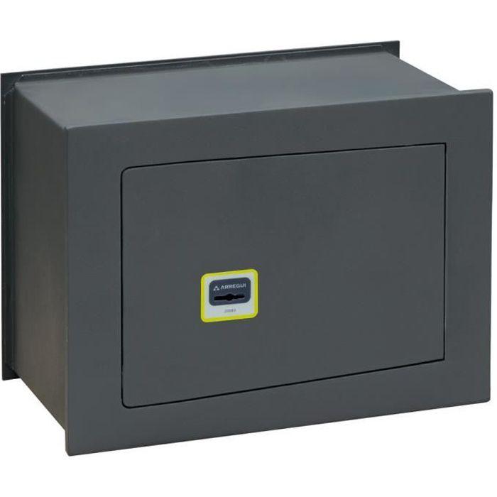 Arregui Ideal 10 281340 Coffre-fort à emmurer, haute sécurité 10mm, ouverture à clé, petit 28 x 38 x 20 cm, 13 L Gris foncé