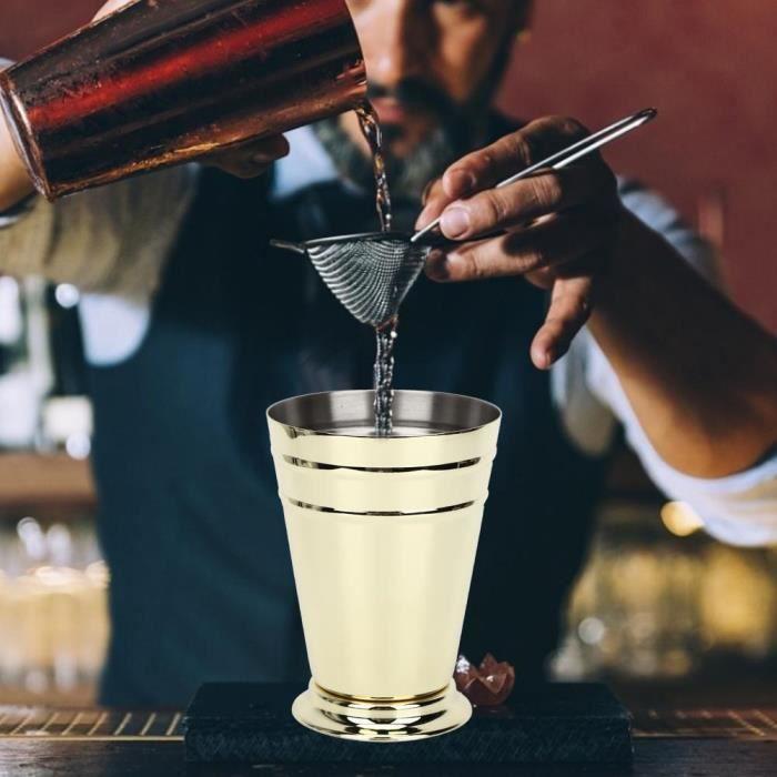 400ML Coup pour Mojito Mint Julep Mixte Boissons Bar maison en acier inoxydable (Or )