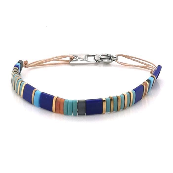 Bracelet - Gourmette - Jonc - ZAG BIJOUX - Bracelet Zag Bijoux acier perles Miyuki bleues - Couleur de la matière:Blanc
