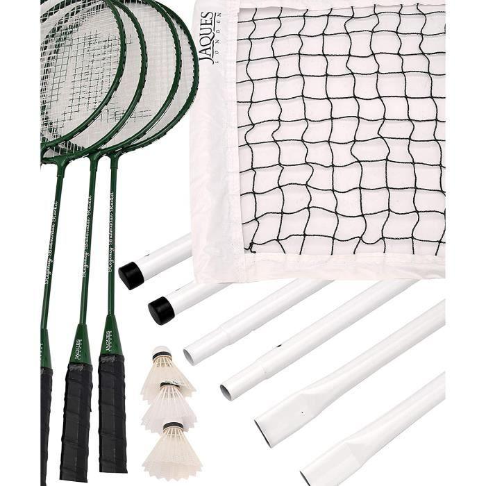 Set Badminton Avec Filet - Set de badminton complet de qualité supérieure - Jaques of London - Set de badminton de luxe 4 joueurs de