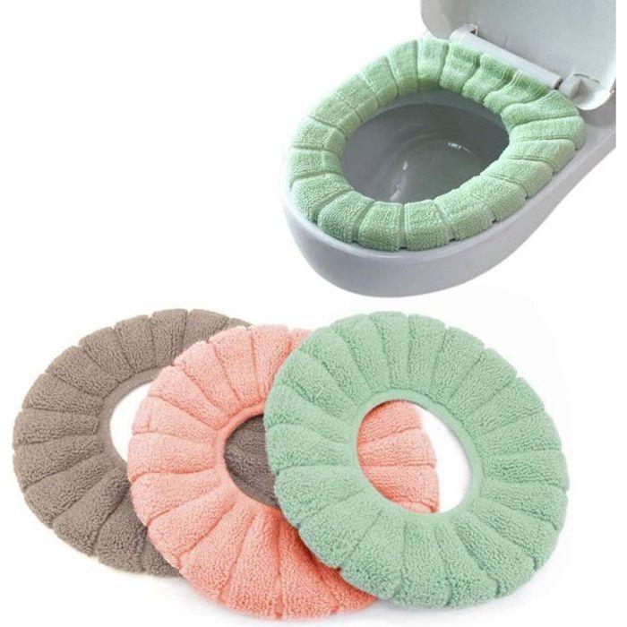 3PCS Housse de Siège de Toilette Multicolore Chaud Protection Housse de Cuvette Couvercle Toilette Siège Housse pour abattant WC