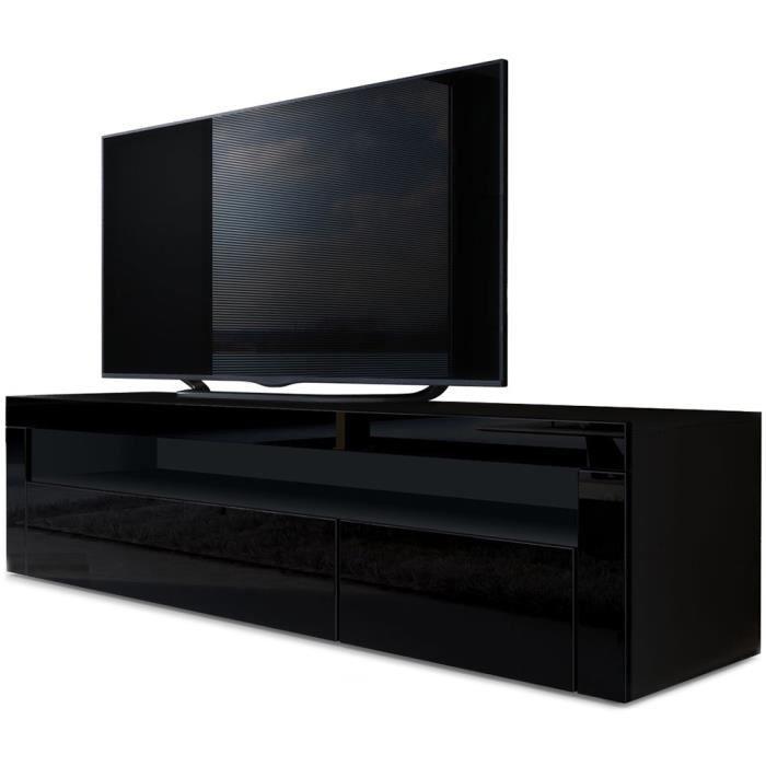 Meuble TV bas Valencia en Noir mat - Noir haute brillance - Noir haute brillance