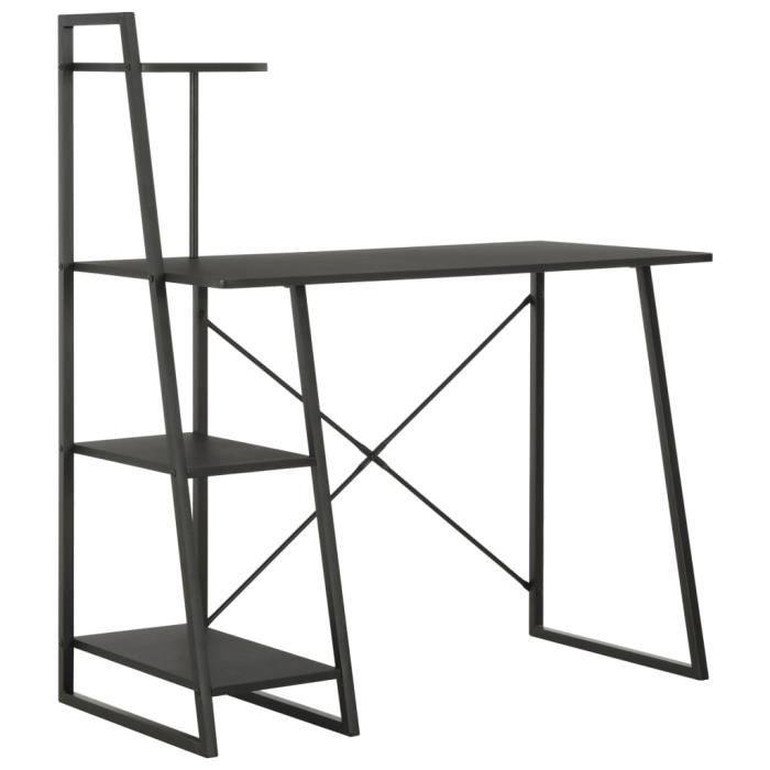Bureau avec étagère-Table de bureau Étagère de rangement Bureau informatique design industriel Noir 102x50x117 cm