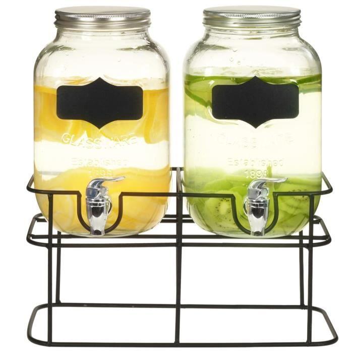 2 pcs Distributeurs de boissons avec support 2 x 4 L Verre