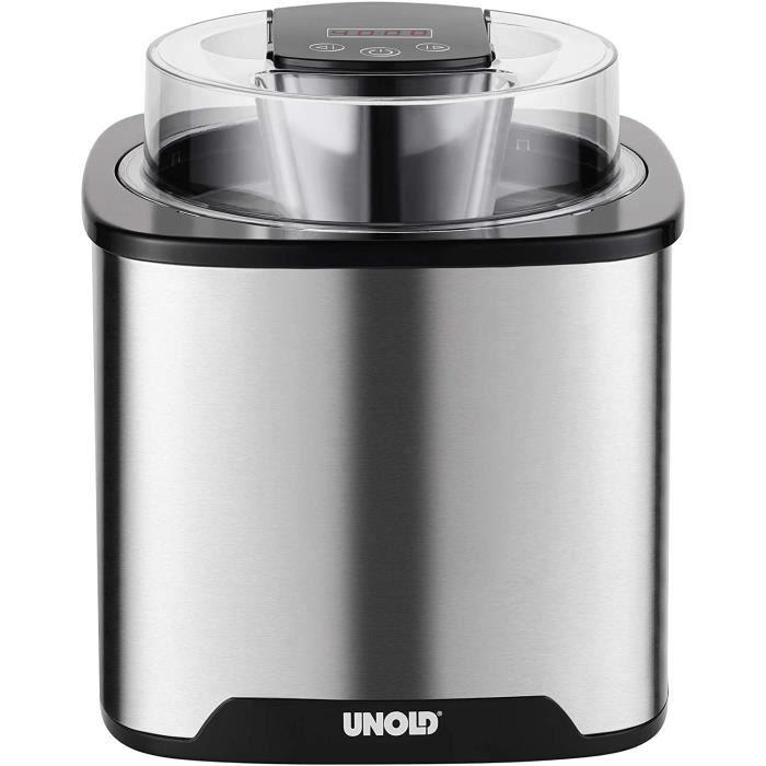 Unold 48855 Gelato Machine à glace sans compresseur 1,5 l Acier inoxydable/noir