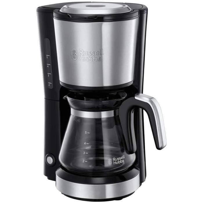 Russell Hobbs Machine à Café, Cafetière Filtre 625ml, Café Rapide en 7mn, Plaque Chaude, Porte Filtre Amovible - Inox Brossé 24210-5
